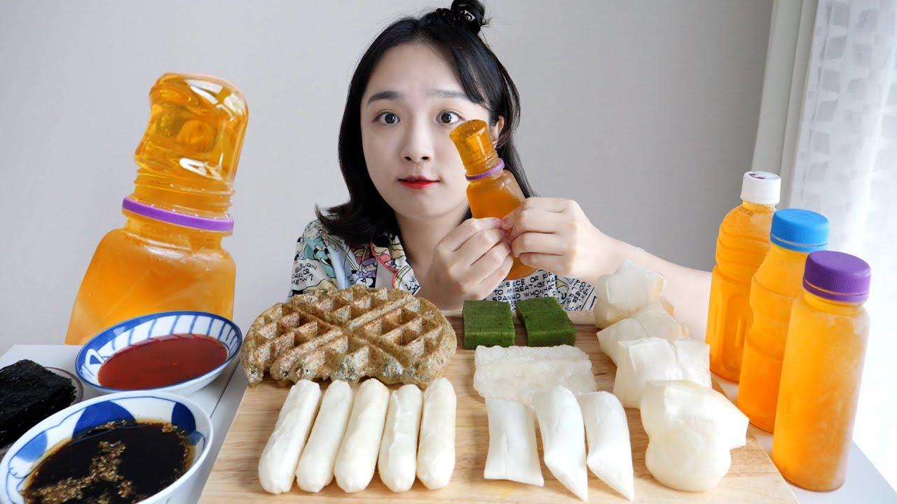 요즘 핫한 쫀득 꿀젤리 먹방🍯치즈떡,키리모찌,떡 와플..각종 떡까지!REALSOUND MUKBANG | Honey jelly eating show,tteok,rice cake:D