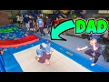 TEACHING OUR 50 YEAR OLD DAD SUPER TRAMPOLINE TRICKS!