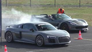 DRAGRACE | Nardo Grey Audi R8 V10 Plus vs. Audi RS6 vs. RS3 8V vs. 911 Turbo vs. Corvette C7