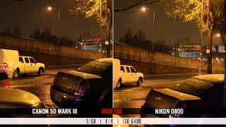 Nikon D800 v Canon 5D Mark III video test: high ISO, moiré, rolling shutter & dynamic range(AdoramaTV Pro puts Canon's and Nikon's newest Full Frame pro DSLRs, the 5D Mark III and D800, head to head in a video shootout. In these real world tests, ..., 2012-04-06T16:47:08.000Z)