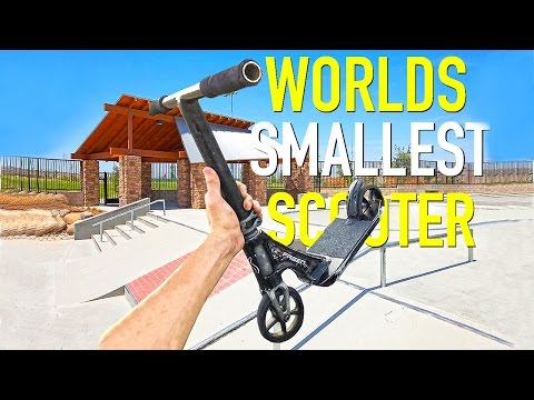 WORLD'S SMALLEST SCOOTER (mini Scoot) At SKATEPARK.. FAILS