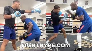 FLOYD MAYWEATHER & DEVIN HANEY GOING HARD ON THE MITTS; MORE VETERAN TRICKS BEING TAUGHT BY TBE