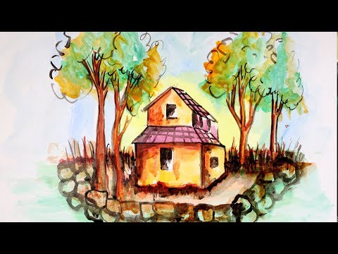How to Paint a Beautiful Village Forest House Scenery | Acrylic Landscape Painting | Simple & Easy