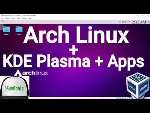 Arch Linux 2017.08 Installation + KDE Plasma + Apps + Guest Additions on Oracle VirtualBox [2017]