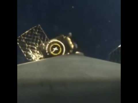 SpaceX Thaicom-8 first stage landing, with OCISLY position marker, 4x slow-motion, with labeling