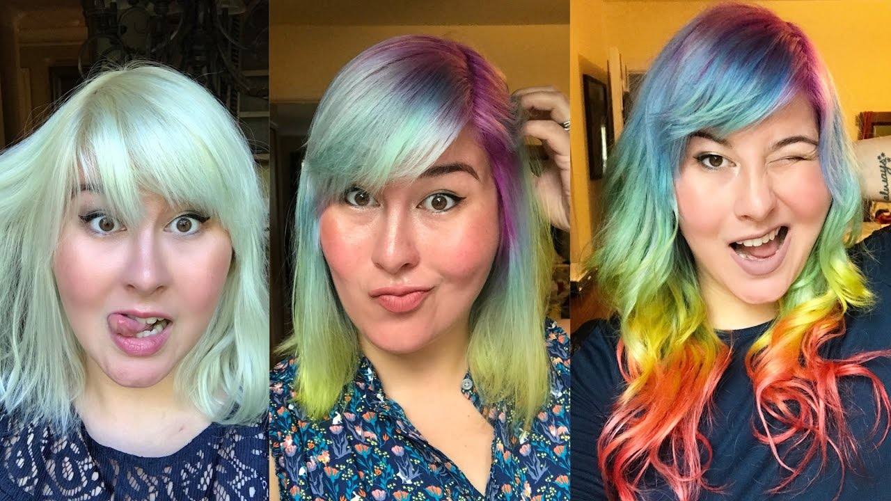 DIY Rainbow Ombr Hair Dye Tutorial  Arctic Fox Hair Color  YouTube