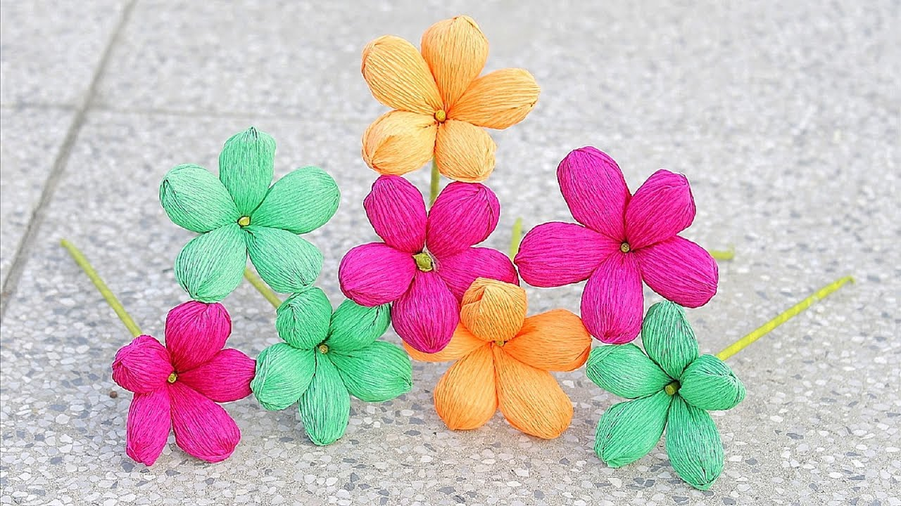 How to make paper flower 2017 crepe paper flowers diy paper how to make paper flower 2017 crepe paper flowers diy paper crafts dhlflorist Image collections