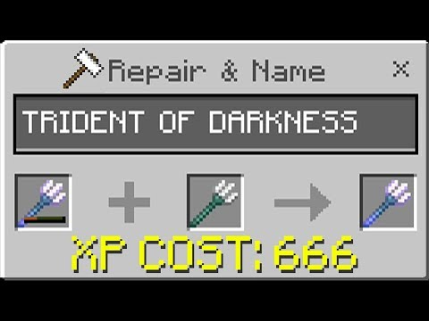 Repairing the TRIDENT OF DARKNESS in Minecraft! (Realms SMP
