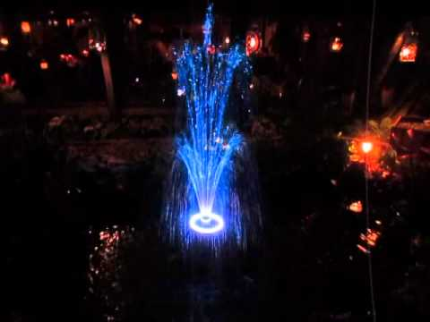 The Lighted Outdoor Fountain At The Hala Kahiki Lounge. River Grove IL.