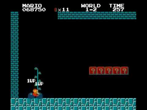 NES original Super Mario Bros infinite Lives in world 1-2 vidas infinitas Nintendo