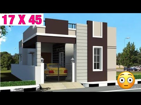 17 X 45 , House Design , Plan Map , 1 BHK , 3D Video , Parking , Lawn Garden Vastu Anusar , 3D View