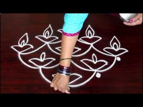 deepam muggulu designs with 6 to 1 interlaced dots-kolam designs with dots- simple rangoli designs