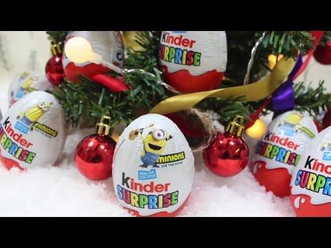 Видео: Миньон Рождество добрее Сюрприз яйца - Minion Christmas Kinder Surprise Eggs  игрушки сюрпризом