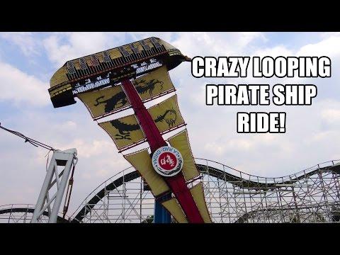 Looping Pirate Ship Ride POV La Feria Amusement Park Mexico City