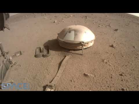 Mars InSight lander starts burying cable (feat. Marsquake sonified audio)