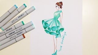 Fashion illustration: mint dress (как рисовать платье) copic sketsh