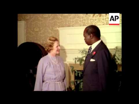 PRIME MINISTER MRS MARGARET THATCHER WITH PRESIDENT DANIEL ARAP MOI OF KENYA - NO SOUND - COLOUR
