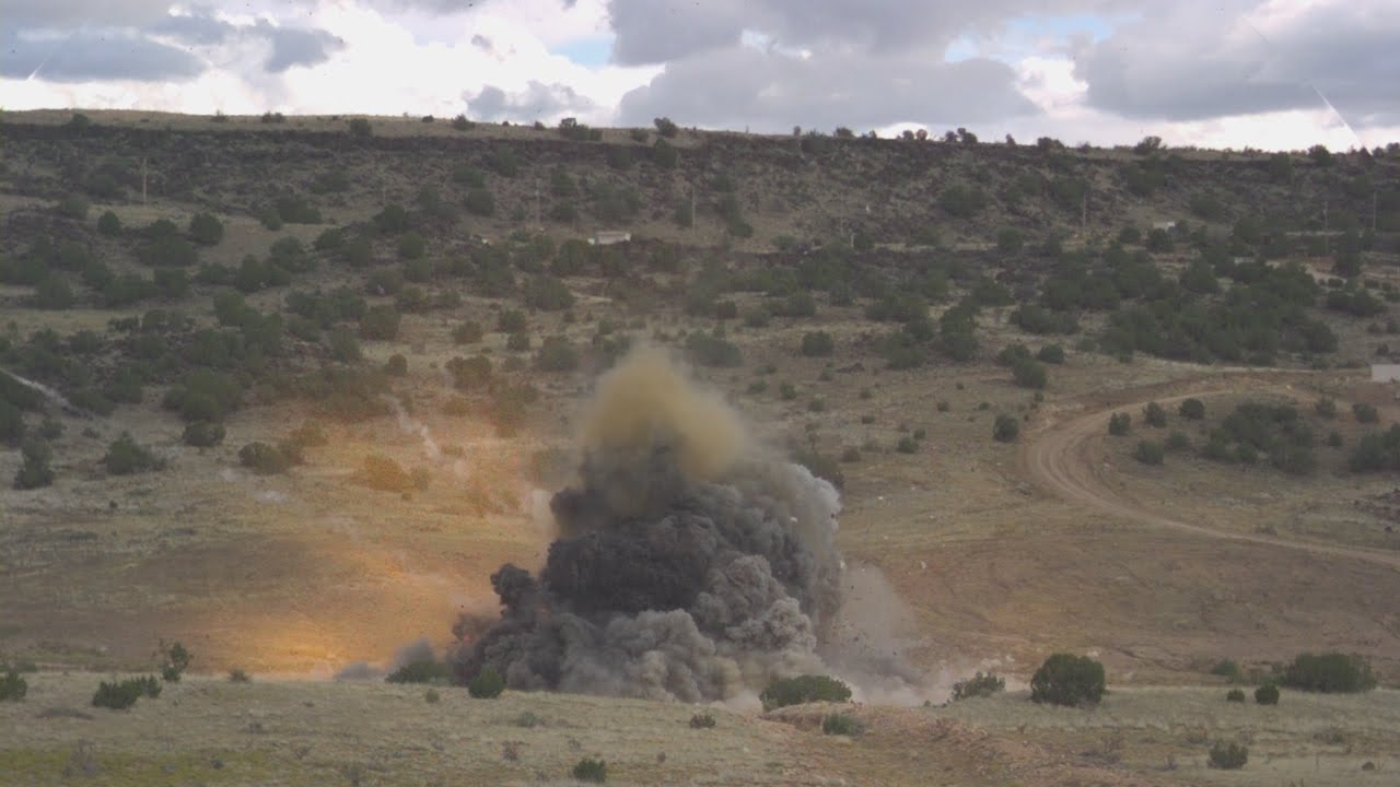 Cement truck explosion high speed footage