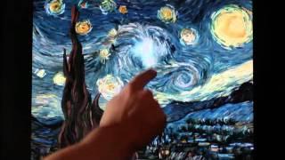 フィンセント・ファン・ゴッホの代表作の一つ、「星月夜」上の油絵のタ...