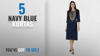 Top 10 Navy Blue Kurtas [2018]: M&D Beautiful Embroidered Exclusive Casual cotton Women's