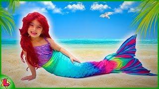 VIREI UM SEREIA DE VERDADE ! Kids Magic Transform The Mermaid in Sea !