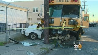 School Bus Ends Up On Top Of Parked Car In South LA
