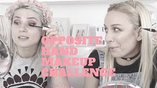OPPOSITE HAND MAKEUP CHALLENGE WITH GINA VIDEOS! || GIO DREVELI ||