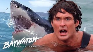 Great White Shark ATTACK On Baywatch! Will Mitch Save Jill?! Baywatch Remastered