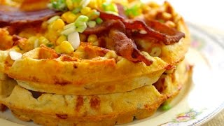 Bacon & Cheddar Cornmeal Waffles - Gemma's Bold Baking Breakfast Ep.  2