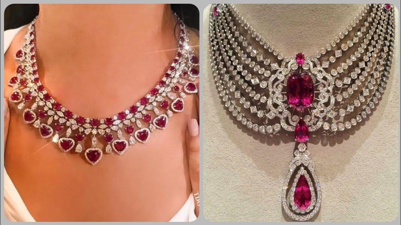 Designer Elegant Luxury Ruby Necklace Designs Diamond And Ruby