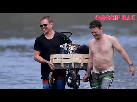 Chris Hemsworth and Matt Damon enjoy a beach day out with their families.