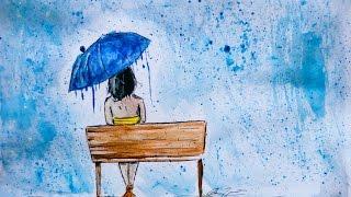 Gouache Speed Painting Timelapse - Rainy Day