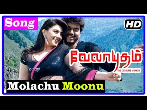 Velayudham Tamil Movie | Songs | Molachu Moonu Song | Raaghav supports Velayudham | Abhimanyu