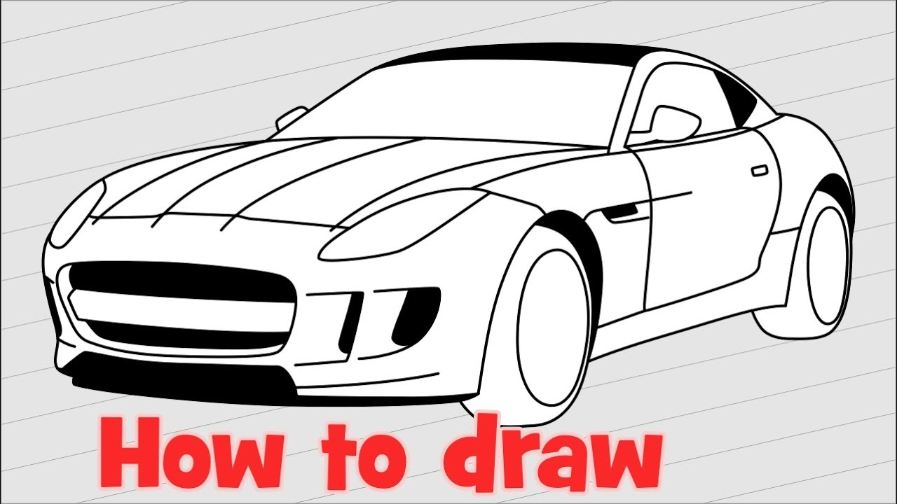 How To Draw A Car Jaguar F Type 2017 Step By Step Youtube