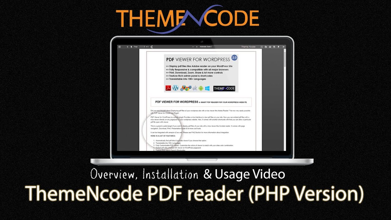 Themencode pdf reader php version overview installation and usage