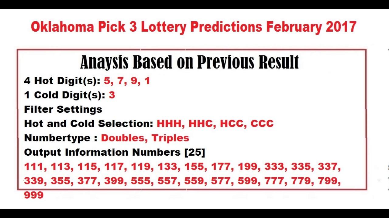 Oklahoma Pick 3 >> Oklahoma Pick 3 Lottery Predictions February 2017 Youtube