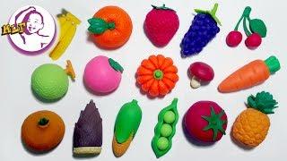 讓小朋友認識水果和蔬菜的中英文名稱|玩具反斗城玩具|Iwako Japanese Vegetable Eraser Set|