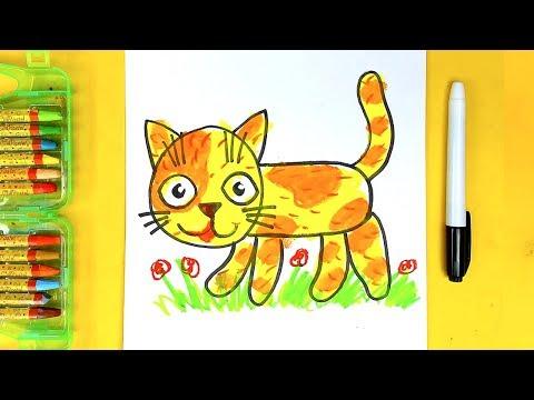Как нарисовать КОШКУ уроки рисования для детей