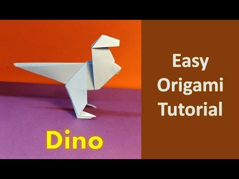 DIY : Paper Dinosaur Step by Step Tutorial | Easy Origami | Paper Folding #Origami #Kidscraft