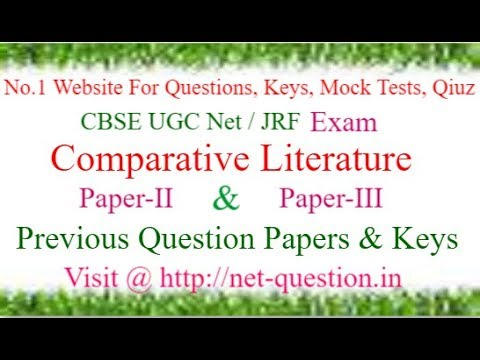CBSE UGC NET Comparative Literature,Solved,Previous Questions,Answer keys,Mock Test,Quiz
