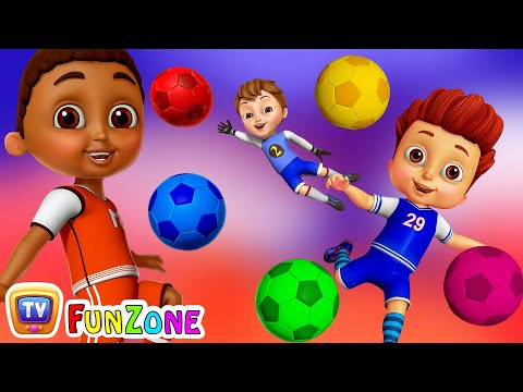 Learn Colors with Football  Kids Play with Colorful FootballSoccer Balls  ChuChu TV Funzone Games