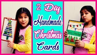 2 Easy Handmade Greeting Cards for Christmas - How to make cards(for kids)
