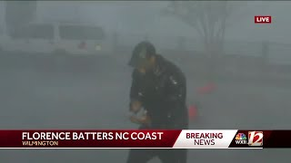 Reporter battles strong winds, heavy rain during Hurricane Florence