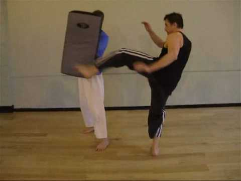 Tom Hill S Karate Dojo High Kicking Mawashi Geri Round House Kick Bag Work
