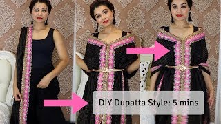How To Wear Dupatta As Jacket | Easy DIY Using Safety Pins