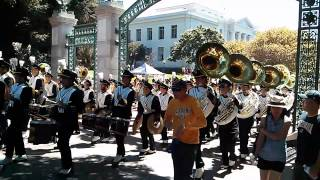 University of California Marching Band Marches to Stadium Before Football Game