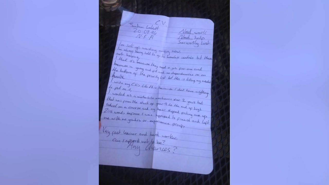 homeless man hired after handwritten resume is re tweeted