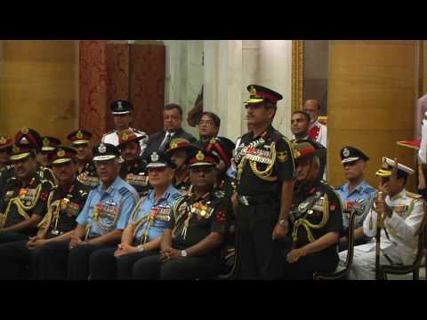 President presenting Gallantry Awards and Distinguished Service Decorations - 06-04-17