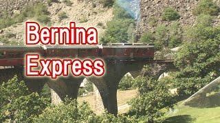 ベルニナ急行 サン・モリッツからティラーノ  展望車の車窓風景。 山の上からの映像。St.Moritz Bernina Express St.Moritz~Tirano