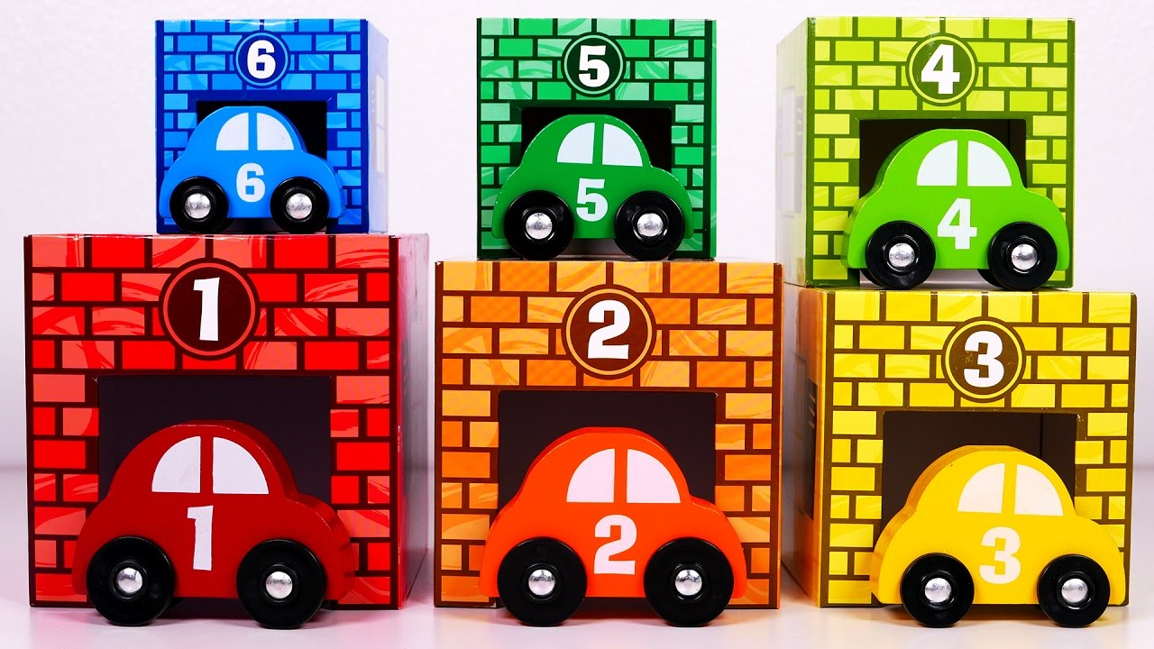 Learn Colors And Counting With Toy Garage And Parking Cars For Kids
